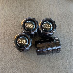 🚘 Audi Black valve cap covers set of 4 metal